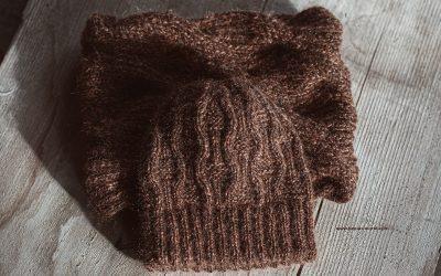 Mütze und Snud/Schal aus Alpakawolle