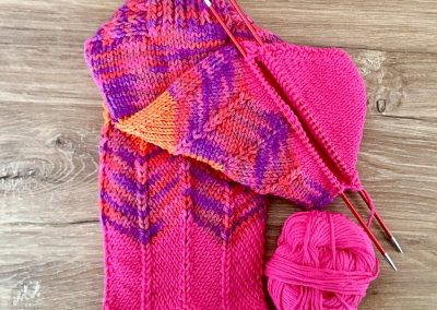 Bunte Socken in Pink | Stricken | Beeja strickt